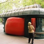 RedBall Portland, wedged in bus stop.